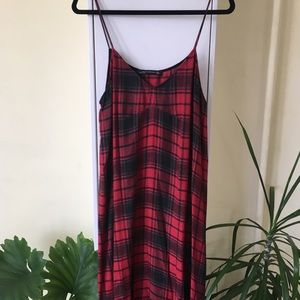 Zara Red Plaid Midi Dress